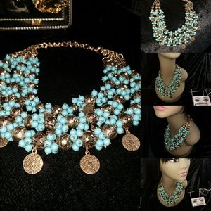 Turquoise and Gold Bombshell Necklace